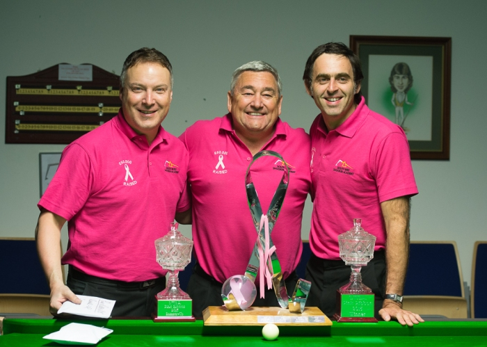 Darryl Walker, Paul Mount and Ronnie, with the trophies, after the Pink Ribbon 2015 Final