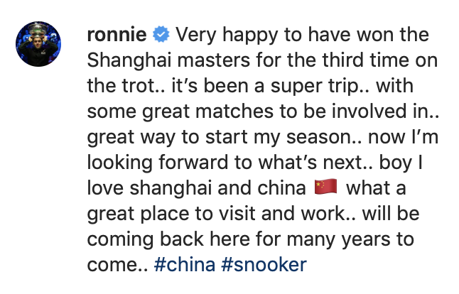 Shanghai Masters 2019 - Ronnie delight Instagram