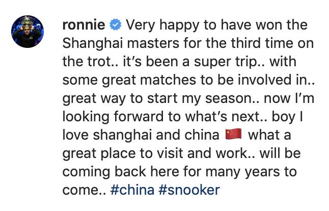 Shanghai Masters 2019 - Ronnie delight Instagram