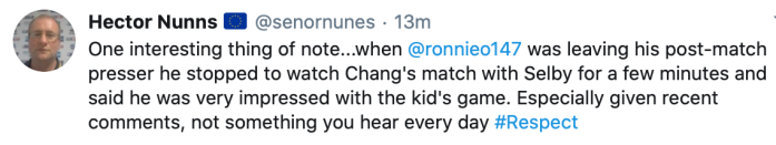 Hector Nunns tweet 14.10.2020 - Ronnie about Chang Bingyu