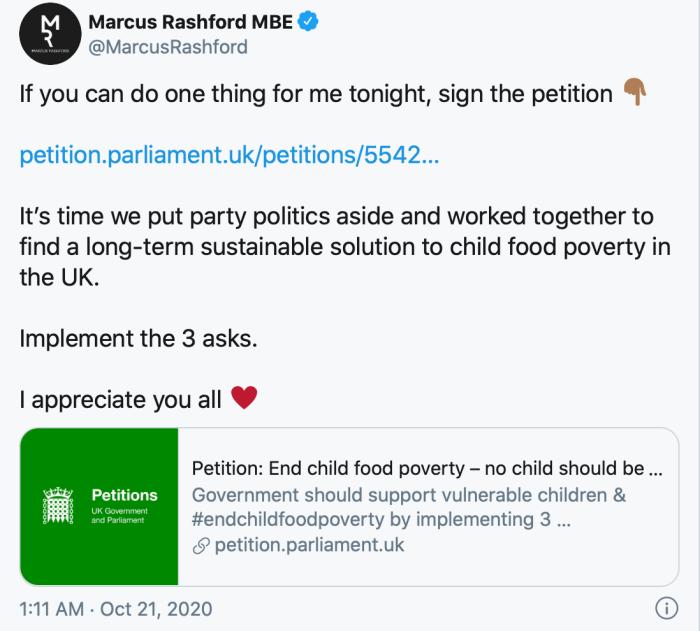 Marcus Rasford petition tweet