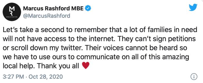 Marcus Rashford tweet - poors have no voice