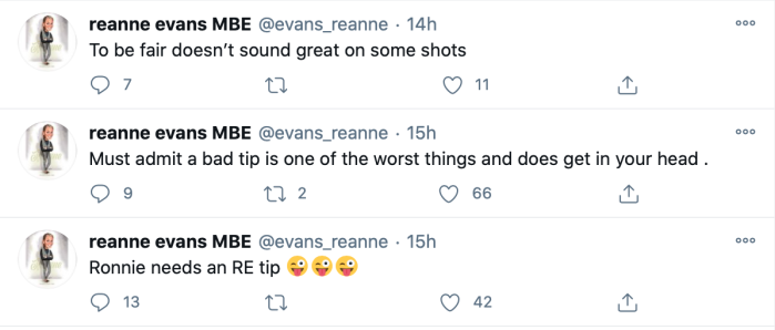 2020 Scottish Open Reanne evans tip tweets