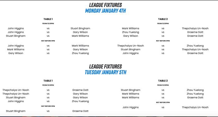 CLS 2021 - Group 1 - League fixtures