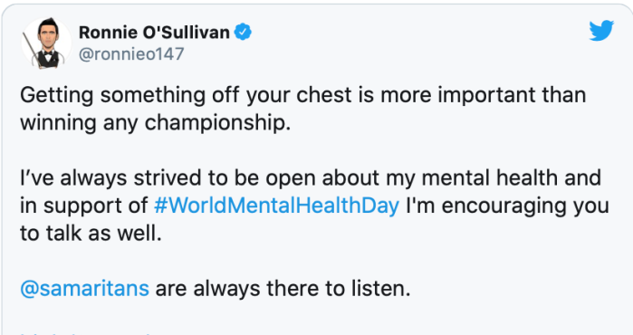 Ronnie about depression tweet