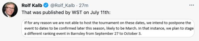 Rolf Kalb - tweet - Barnsley tournament